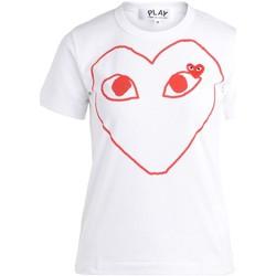 Kleidung Damen T-Shirts Comme Des Garcons Damen Comme Des Garçons T-Shirt PLAY mit Rotem Herz Weiss