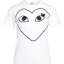 Kleidung Damen T-Shirts Comme Des Garcons T-Shirt  mit Schwarzem Herz Weiss