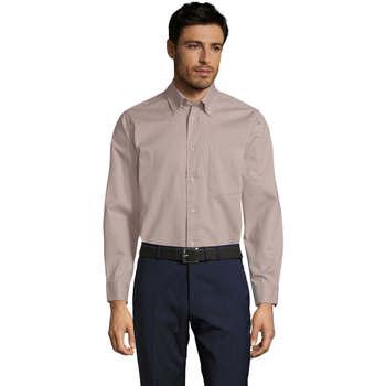 Kleidung Herren Langärmelige Hemden Sols BEL-AIR TWILL MEN Beige