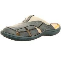 Schuhe Herren Sandalen / Sandaletten Krisbut Offene Clog aus Leder 1075-9 blau