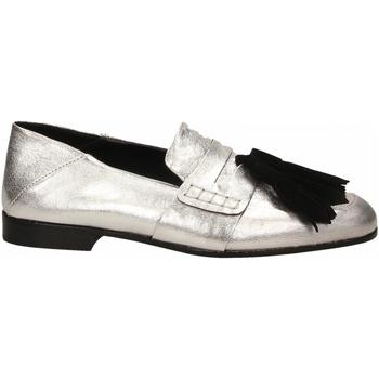 Schuhe Damen Slipper Lemaré CAMOSCIO/LAMINATO argento-nero