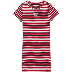 Kleidung Mädchen Kurze Kleider Tommy Hilfiger Kids MULTI STRIPE KNIT DRESS S/S Rot