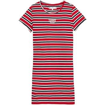 Kleidung Mädchen Kurze Kleider Tommy Hilfiger MULTI STRIPE KNIT DRESS S/S Rot