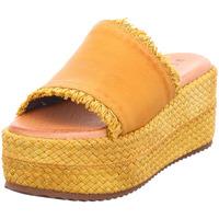 Schuhe Damen Leinen-Pantoletten mit gefloch Café Noir - HG135230 gelb
