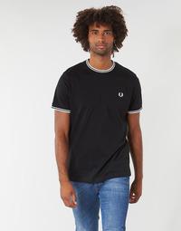 Kleidung Herren T-Shirts Fred Perry TWIN TIPPED T-SHIRT Schwarz