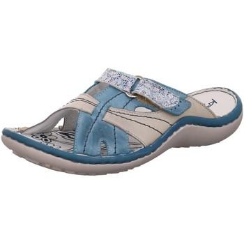 Schuhe Damen Pantoffel Krisbut Pantoletten Pantolette in Blau-Grau 7003-3 blau