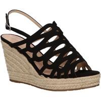 Schuhe Damen Leinen-Pantoletten mit gefloch Maria Mare 67430 Negro