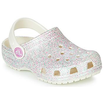 Schuhe Mädchen Pantoletten / Clogs Crocs CLASSIC GLITTER CLOG K Weiss