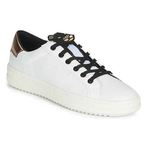 Schuhe Damen Sneaker Low Geox D PONTOISE Weiss / Kupfer