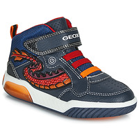 Schuhe Jungen Sneaker High Geox J INEK BOY Blau / Rot /  led