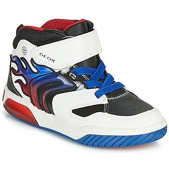 Schuhe Jungen Sneaker High Geox J INEK BOY Weiss / Blau /  led