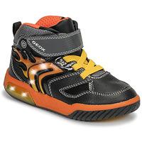 Schuhe Jungen Sneaker High Geox J INEK BOY Schwarz / Orange