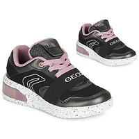Schuhe Mädchen Sneaker High Geox J XLED GIRL Schwarz / Rose /  led