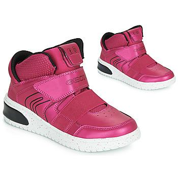 Schuhe Mädchen Sneaker High Geox J XLED GIRL Rose / Fuchsienrot / Schwarz /  led