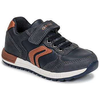Schuhe Jungen Sneaker Low Geox B ALBEN BOY Blau / Cognac