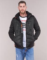 Kleidung Herren Daunenjacken Superdry STORM HYBRID ZIPHOOD Schwarz