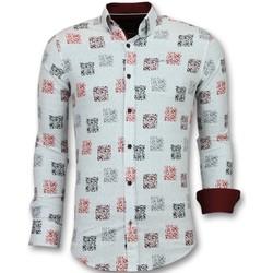 Kleidung Herren Langärmelige Hemden Tony Backer Business Langarm Geblümtes Hemd Weib Weiß