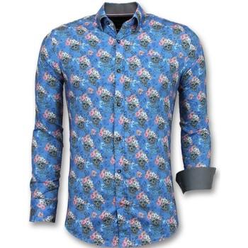 Kleidung Herren Langärmelige Hemden Tony Backer Geblümtes Hemd Hemd Elegant Blau