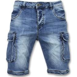 Kleidung Herren Shorts / Bermudas Enos Jeanshose Kurz Kurze Jeans Shorts Blau