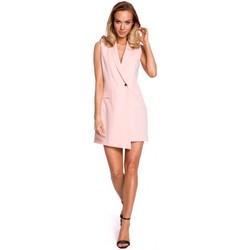 Kleidung Damen Jacken Moe M439 Ärmelloses Blazerkleid - Puder