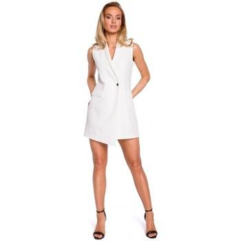 Kleidung Damen Jacken Moe M439 Ärmelloses Blazerkleid - ecru
