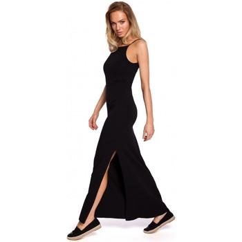 Kleidung Damen Tops / Blusen Moe M432 Maxikleid aus Baumwolle mit Spaghetti-Trägern - schwarz