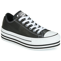 Schuhe Damen Sneaker Low Converse CHUCK TAYLOR ALL STAR LAYER BOTTOM LEATHER OX Schwarz / Weiss / Schwarz