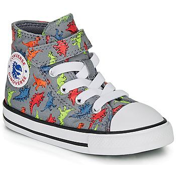 Schuhe Jungen Sneaker High Converse CHUCK TAYLOR ALL STAR 1V DINOVERSE HI Grau