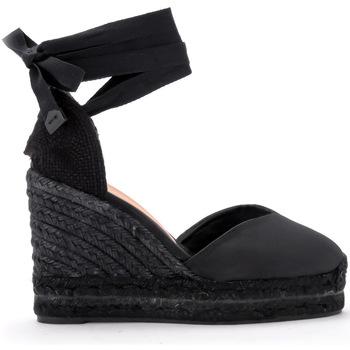 Schuhe Damen Leinen-Pantoletten mit gefloch Castaner Keilsandaletten Chiara in Canvas Schwarz Schwarz