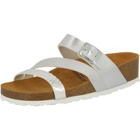 Schuhe Damen Pantoffel Lico Natural Glitter silberfarben