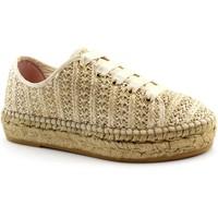 Schuhe Damen Leinen-Pantoletten mit gefloch Macarena MAC-E19-PATRI86-TA Beige