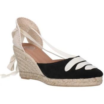 Schuhe Damen Leinen-Pantoletten mit gefloch Carmen Garcia 41s7 Mujer Negro noir