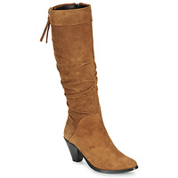 Schuhe Damen Klassische Stiefel Regard RAKAFOU V2 CRTE VEL SILKY Camel
