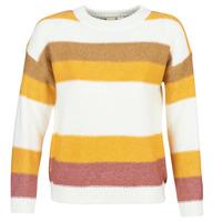 Kleidung Damen Pullover Roxy TRIP FOR TWO STRIPE Weiss / Gelb