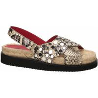 Schuhe Damen Leinen-Pantoletten mit gefloch 181 AMARI ELBA roccia