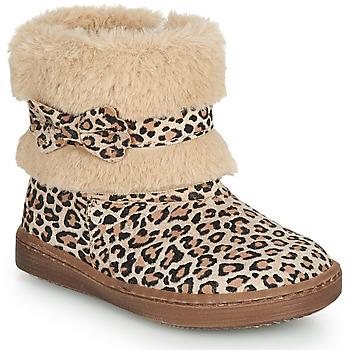 Schuhe Mädchen Boots Citrouille et Compagnie LILIFA Camel / Leopard