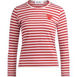 Kleidung Damen Langarmshirts Comme Des Garcons Comme des Garçons T-Shirt Play  mit Weiß-Roten Streifen Rot
