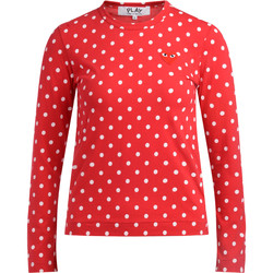 Kleidung Damen Langarmshirts Comme Des Garcons Comme Des Garçons T-Shirt Play in mit Weißen Pois Rot