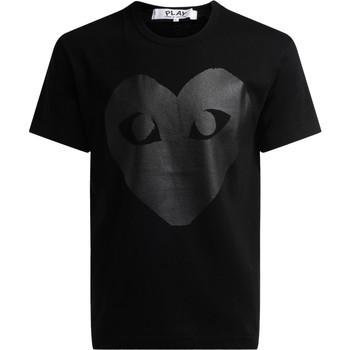 Kleidung Herren T-Shirts Comme Des Garcons Comme Des Garçons Rundhals T-Shirt PLAY mit Herz-Aufdruck Schwarz