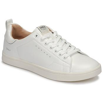 Schuhe Damen Sneaker Low Only SHILO PU Weiss / Silbern