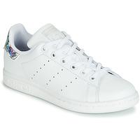 Schuhe Mädchen Sneaker Low adidas Originals STAN SMITH J Weiss / Silbern