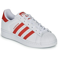 Schuhe Kinder Sneaker Low adidas Originals SUPERSTAR J Weiss / Rot