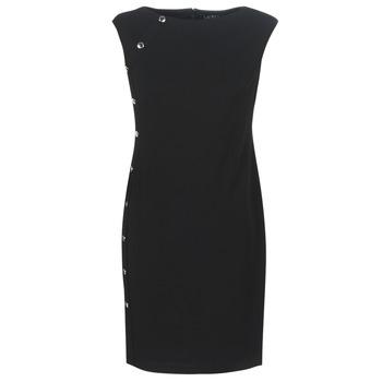 Kleidung Damen Kurze Kleider Lauren Ralph Lauren BUTTON-TRIM CREPE DRESS Schwarz