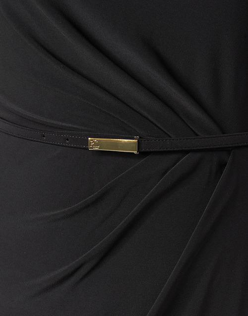 Lauren Ralph Belted Short Sleeve Dress Schwarz - Kostenloser Versand | Kleidung Maxikleider Damen 15900