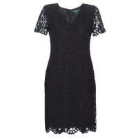 Kleidung Damen Kurze Kleider Lauren Ralph Lauren SCALLOPED LACE DRESS Schwarz