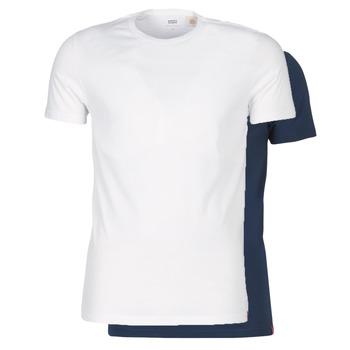 Kleidung Herren T-Shirts Levi's SLIM 2PK CREWNECK 1 Marine / Weiss