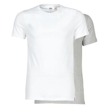 Kleidung Herren T-Shirts Levi's SLIM 2PK CREWNECK 1 Weiss / Grau
