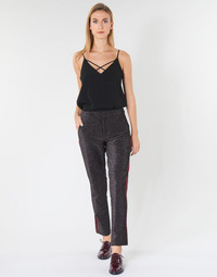 Kleidung Damen 5-Pocket-Hosen Maison Scotch TAPERED LUREX PANTS WITH VELVET SIDE PANEL Grau