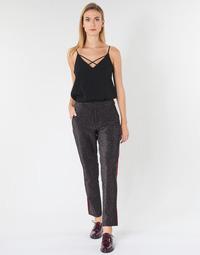 Kleidung Damen 5-Pocket-Hosen Maison Scotch TAPERED LUREX PANTS WITH VELVET SIDE PANEL Grau