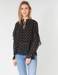 Kleidung Damen Tops / Blusen Maison Scotch SHEER PRINTED TOP WITH RUFFLES Schwarz